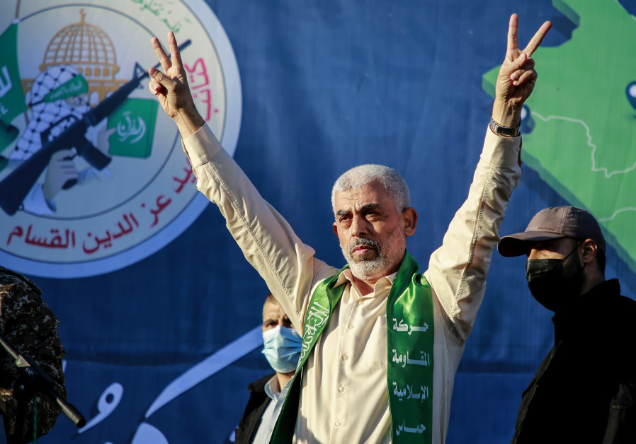 YAHYA SINWAR, leader of Hamas in Gaza, gestures on stage during a rally in Gaza City on May 24. (Atia Mohammed/Flash90)