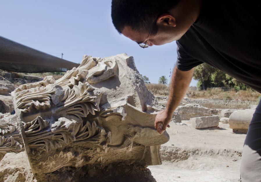 Archaeologist Saar Ganor with a capital in Tel Ashkelon National Park. (Credit: YOLI SHWARTZ ISRAEL ANTIQUITIES AUTHORITY)