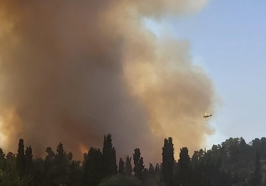 Fire near Abu Gosh, Neve Ilan, June 9, 2021 (Credit: Danny Zaken)