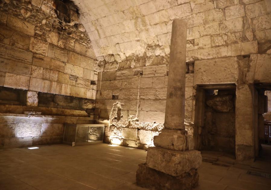 Restos do magnífico edifício de 2.000 anos recentemente escavado e prestes a ser aberto ao público.  (Crédito: YANIV BERMAN / ISRAELI ANTIQUITIES AUTHORITY)