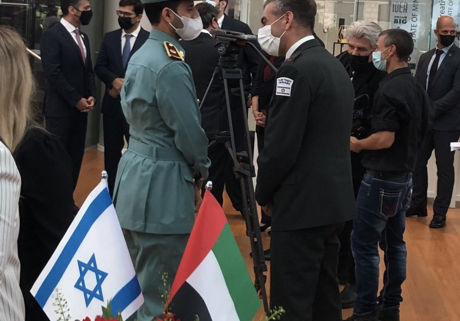 IDF and UAE military officials at the opening of the UAE Embassy to Tel Aviv, July 14, 2021. (Credit: Lahav Harkov)