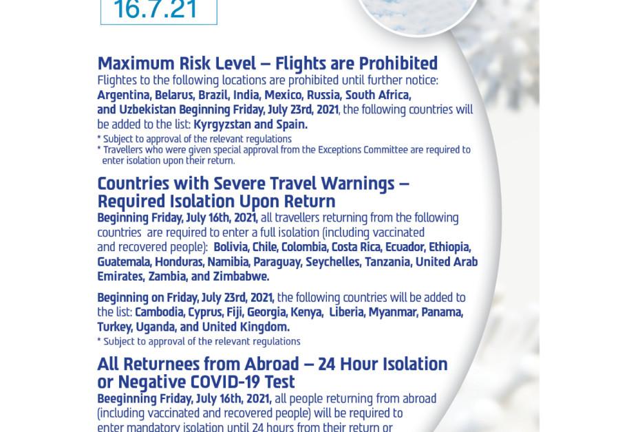 Explanation of the Israeli coronavirus flight restrictions. (Credit: Health Ministry)
