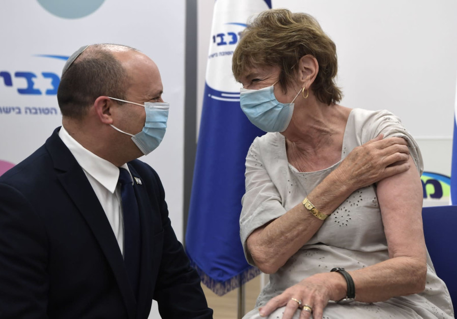 PM NAFTALI BENNETT accompanied his mother Mirna to get a third COVID-19 booster shot, August 3, 2021