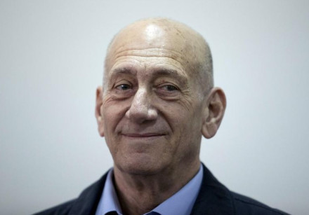 Former Prime Minister Ehud Olmert is seen in Jerusalem District Court