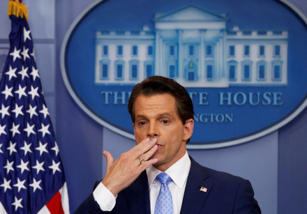 White house Communications Director Anthony Scaramucci (R)), flanked by White House Press Secretary