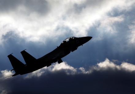 An Israeli Air Force F-15 fighter jet flies during an aerial demonstration