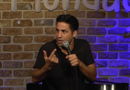 Israeli Comedian Shahar Hason performs at 'Funny Monday' in Tel Aviv
