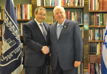 PRESIDENT REUVEN RIVLIN with Rabbi Ari Berman, president of Yeshiva University.