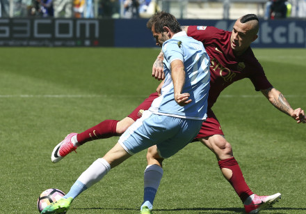A match between Lazio and AS Roma