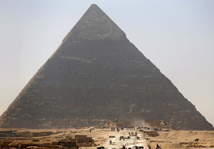 The Pyramid of Khufu, the largest of the Great Pyramids of Giza, on the outskirts of Cairo, Egypt.