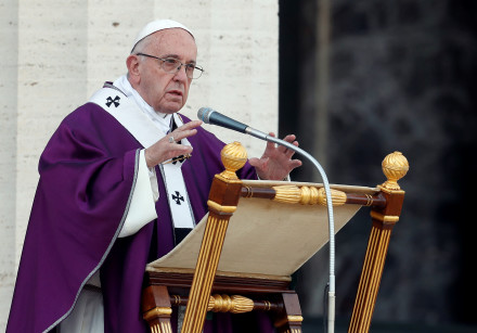 Pope Francis celebrates a Mass at the US World War II cemetery.
