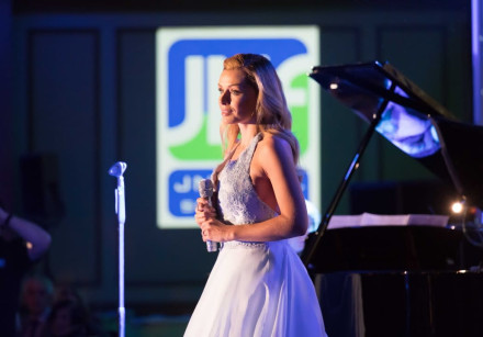 Katherine Jenkins takes part in a gala dinner held by JNF Scotland