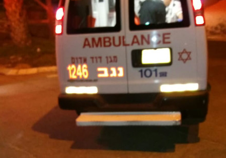 An MDA ambulance leaves the scene of a suspected terror attack in Arad on November 30.
