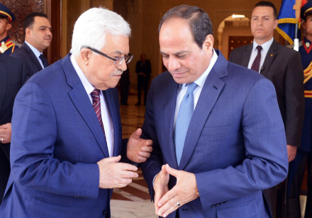 Egyptian President Abdel Fattah al-Sisi meets with Palestinian leader Mahmoud Abbas in Cairo