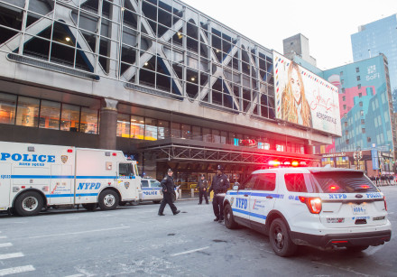 Police and other first responders respond to an explosion at the Port Authority in New York