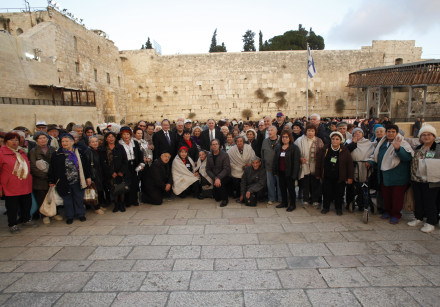 Hanukka candle-lighting ceremony in honor of Holocaust survivors at the Western Wall in Jerusalem