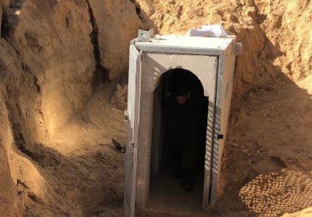An entrance to the underground tunnel destroyed by IDF forces in late October.