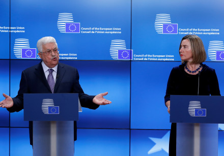 Palestinian President Abbas and Mogherini give a press statement