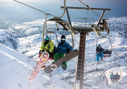 Skiers ride a ski lift on Mount Hermon in the Golan Heights near the Israel-Syria border.