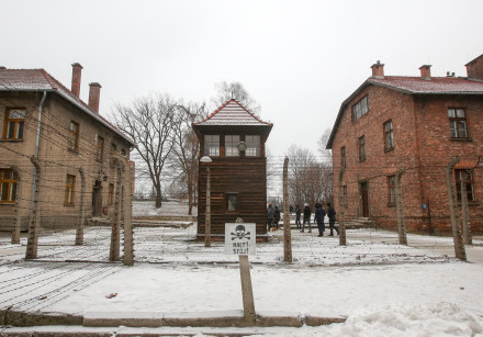 Auschwitz concentration camp in Poland in the snow