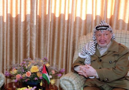 Yasser Arafat in 1968 at the then PLO head quarters.