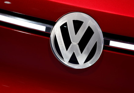 A car with the Volkswagen VW logo badge is seen on display at the North American International Auto