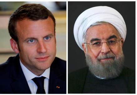 A combination of file photos showing French President Emmanuel Macron  and Iranian President Hassan