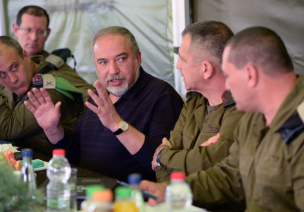 Defense Minister Avigdor Liberman convenes with IDF officers in the Gaza region