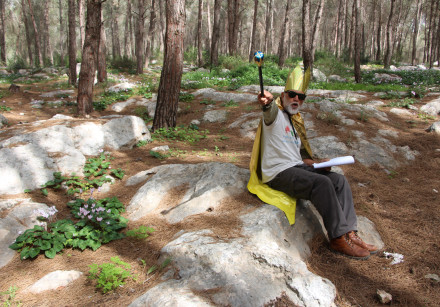 KKL-JNF guide dressed as King Solomon at Musical Garden station in Ben Shemen Forest