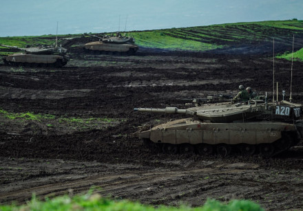 Israeli tanks during an exercise near the northern border on February 22, 2018.
