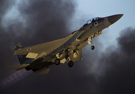 An Israeli air force F-15 fighter jet flies during an exhibition as part of a graduation ceremony