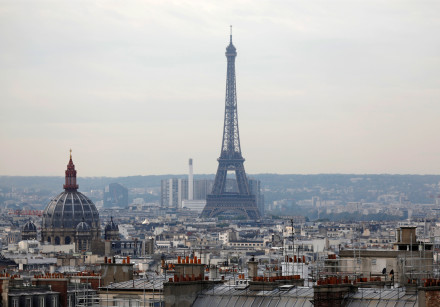 General view of the Eiffel Tower in Paris, France