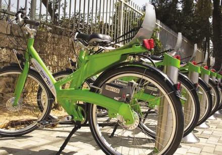 A bicycle rack as part of Tel Aviv's Tel-O-Fun bike-sharing program.