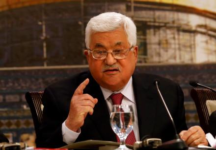 Palestinian President Mahmoud Abbas gestures as he speaks in Ramallah