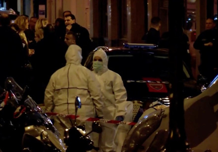 Personnel are seen at the scene of a knife attack in Paris, France May 12, 2018