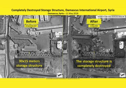 Destroyed storage structure, Damascus International Airport, Syria, 11 May 2018, intelligence analys