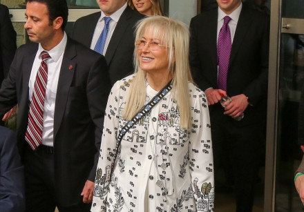Miriam Adelson at the inauguration of the US embassy in Jerusalem, May 14, 2018