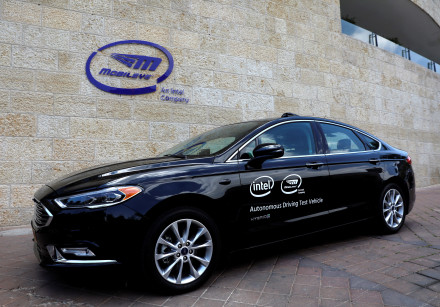 A Mobileye autonomous driving test vehicle, at the Mobileye headquarters in Jerusalem