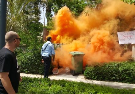 Smoke at the Netanyahu residence in Caeserea, May 25, 2018