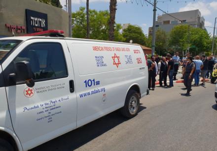 MDA ambulance at the scene of a stabbing in Afula