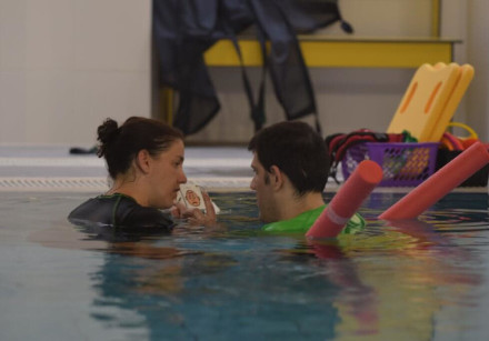 A patient receives treatment in ALEH's new hydrotherapy pool in Jerusalem
