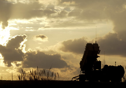 A Patriot anti-missile system deployed in a joint U.S. and Israeli military outpost in Jaffa, south