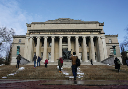 CONNECT WITH them. Students walk outside the Library of Columbia University in New York.