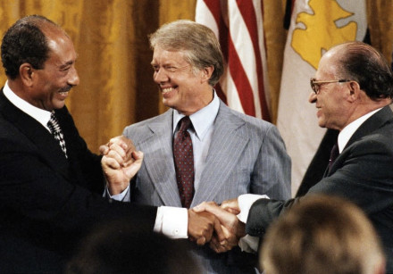 EGYPTIAN LEADER Anwar Sadat, US president Jimmy Carter and prime minister Menachem Begin meet at Cam