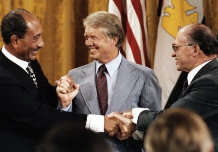 EGYPTIAN LEADER Anwar Sadat, US president Jimmy Carter and prime minister Menachem Begin meet at Cam