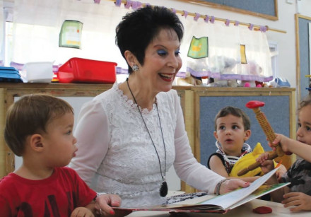 RIVKA LAZOVSKY visits a WIZO day-care center on the first day of school.