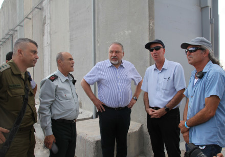Defense Minister Avidgor Liberman at Kerem Shalom last month.