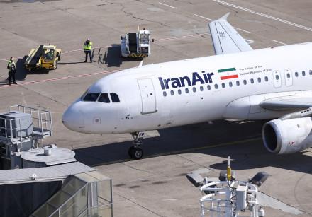 An IranAir Airbus A320 passengers aircraft parks after landing at Belgrade's Nikola Tesla Airport