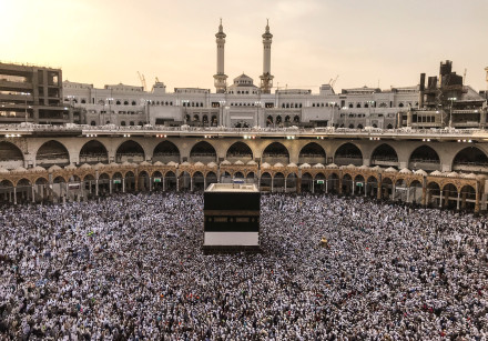 Muslim pilgrims circle the Kaaba and pray at the Grand mosque ahead of annual Haj pilgrimage in the