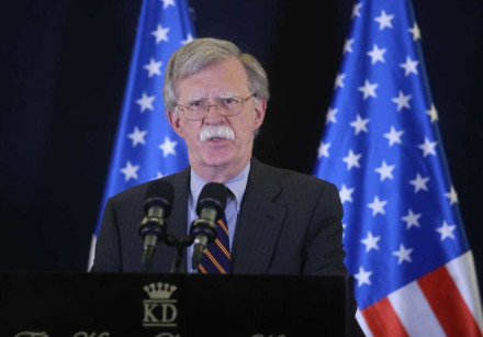 National security advisor John Bolton at press conference at King David